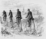 """""""Clubfahrt""""  Zeichnung aus """"Radfahrer-Leben"""" von Heinrich von Esebeck, verfasst Dez. 1884, Liezen, © Verlag Friedrich Beck, Wien"""