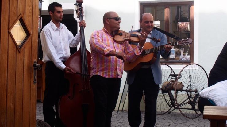 Musikalische Begleitung beim alten Presshaus in Dürnstein.